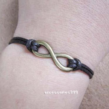 Dark brown wax rope bracelet - infi..