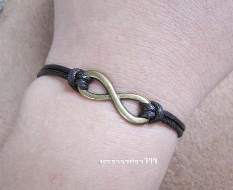 Dark brown wax rope bracelet - infinity jewelry bracelet, bridesmaid bracelets gifts