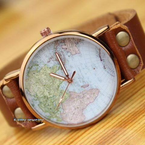 World Map Retro Leather Watch