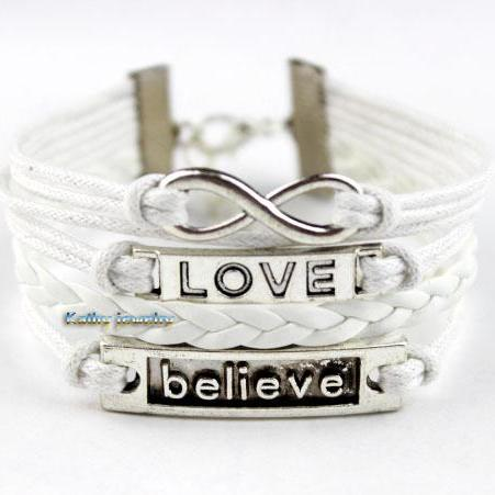 Infinite love and believe in charm bracelet, wax rope bracelet, the best friendship. The bridesmaid gifts