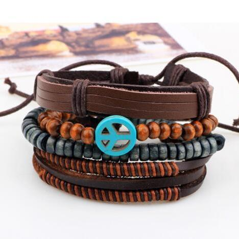 Peace symbol leather wooden bead dogan beaded bracelet